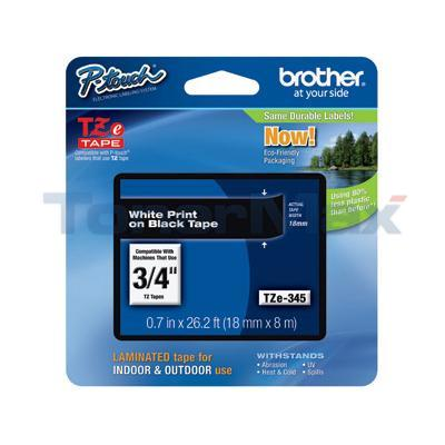 BROTHER TZ LAMINATED TAPE WHITE ON BLACK 0.7 IN X 26.2 FT